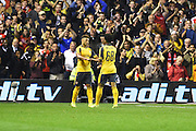 Arsenal midfielder Alex Oxlade-Chamberlain (15) celebrates with Arsenal midfielder Chris Willcock (68) after scoring a goal putting the Gunners 0-4 up during the EFL Cup match between Nottingham Forest and Arsenal at the City Ground, Nottingham, England on 20 September 2016. Photo by Jon Hobley.