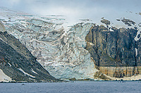 Hanging glacier from Torsfonna at Cape Fanshawe on Spitsbergen in Svalbard, Norway.
