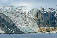 Hanging glacier from Torsfonna at Cape Fanshawe on Spitsbergen in Svalbard, Norway.