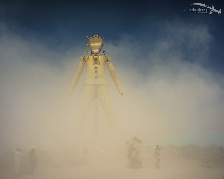 The Man, in a dust storm. Burning Man 2014