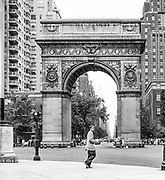 The bottom of 5th Avenue with the replica of the arch de triumph