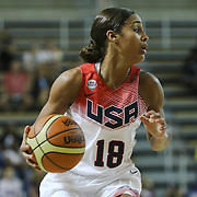 United States Guard Skylar Diggins (18) dribbles the ball up court in the second half of a USA Women's National Team Exhibition game between Red and White Thursday, Sept. 11, 2014 at The Bob Carpenter Sports Convocation Center in Newark, DEL