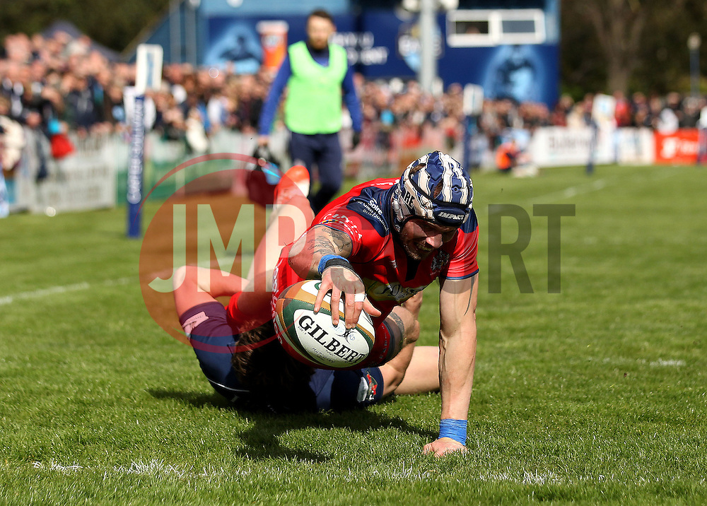 Ryan Edwards right wing for Bristol Rugby scores a try - Mandatory by-line: Robbie Stephenson/JMP - 23/04/2016 - RUGBY - Goldrington Road - Bedford, England - Bedford Blues v Bristol Rugby - Greene King IPA Championship