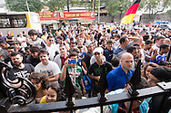 Crowds outside the stadium during the Germany training session at the Est&aacute;dio S&atilde;o Janu&aacute;rio, Rio de Janeiro, ahead of tomorrow's World Cup Final. <br /> Picture by Andrew Tobin/Focus Images Ltd +44 7710 761829<br /> 12/07/2014