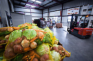 Bags of lettuce, carrots, potatoes, and more await distribution to a program serving children and families