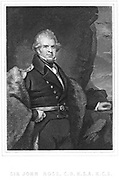 John Ross (1800-62) British polar explorer and naval officer.  In 1818 Ross led an expedition to search for the northwest passage. Accompanied William Parry (1790-1855) on Arctic expeditions in 1819-1827. Led an Arctic expedition 1829-1833, an Antarctic expedition 1839-1843, and the Franklin search expedition of 1850. Engraving.