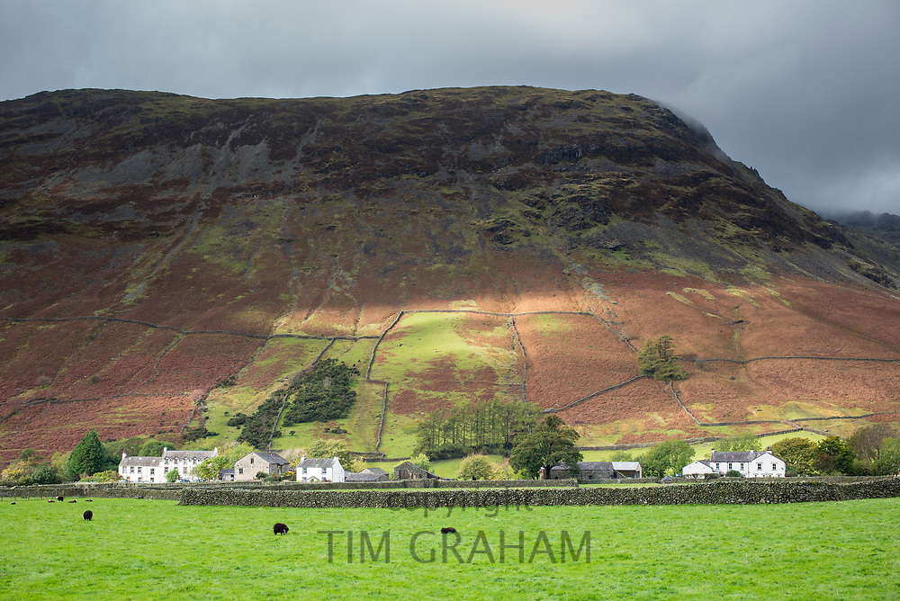 Wasdale Hotel and farm buildings below Yewbarrow Fell mountain at Wasdale Head in the Lake District, Cumbria, UK