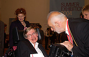 Mr. and Mrs. Stephen Hawking and the President of the Royal Academy Sir Philip King,  Royal Academy summer exhibition annual dinner. Picadilly.  2 June 2004. ONE TIME USE ONLY - DO NOT ARCHIVE  © Copyright Photograph by Dafydd Jones 66 Stockwell Park Rd. London SW9 0DA Tel 020 7733 0108 www.dafjones.com
