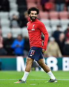 Mohamed Salah (11) of Liverpool during the warm up ahead of the Premier League match between Bournemouth and Liverpool at the Vitality Stadium, Bournemouth, England on 7 December 2019.