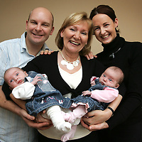 Pictures for Mason Media Maternity Nurse Press Release...<br /> Tinies Maternity Nurse Linda Maguire, centre,  with proud parents Liz and Andrew Hunter, and their 7 week old twins Amy (in pink) and Lucy at the Hunter's home in Abernethy, Perthshire.<br /> <br /> Picture by John Lindsay<br /> COPYRIGHT: Perthshire Picture Agency.<br /> Tel. 01738 623350 / 07775 852112.