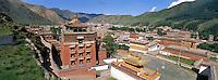 China. Gansu Province. Town of Xiahe. Tibetan monastery of Labrang. // Chine. Province de Gansu. ville de Xiahe. Monastère tibétain de Labrang. Labuleng Si. Un des monastère les plus important pour les tibétain. Tibet.
