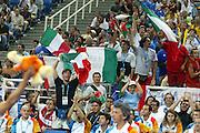 ATENE, 26 AGOSTO 2004<br /> BASKET, OLIMPIADI ATENE 2004<br /> ITALIA - PORTORICO<br /> NELLA FOTO: TIFOSI ITALIA<br /> FOTO CIAMILLO