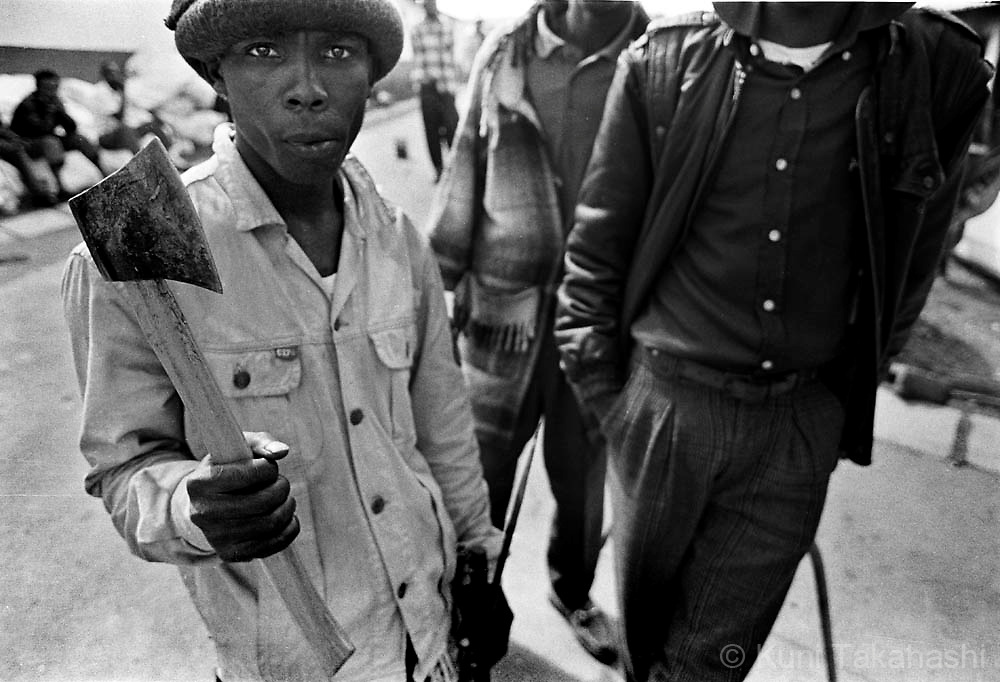 Angry ANC supporters after their hostel was attacked by Inkatha supporters in township near Pietermaritzburg, South Africa in 1992.