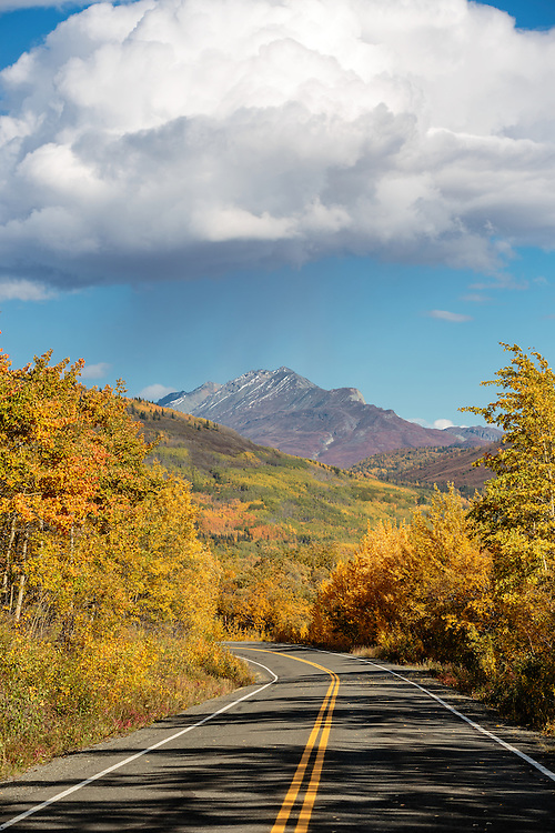 Fall colors along the highways and mountains of Matanuska Valley in Southcentral Alaska. Afternoon.