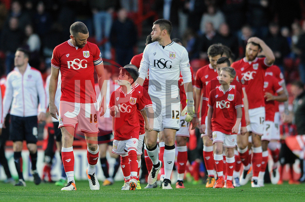 Mascot walk out - Mandatory by-line: Dougie Allward/JMP - 05/04/2016 - FOOTBALL - Ashton Gate Stadium - Bristol, England - Bristol City v Rotherham United - Sky Bet Championship