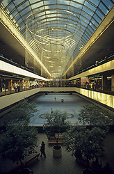 Stock photo of the interior of the Houston Galleria and the skating rink.