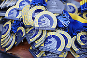 April 21, 2014 - Boston, Massachusetts, U.S. - <br /> <br /> Boston Marathon 2014<br /> <br /> Boston Marathon medals wait to be distributed to runners in Boston, Massachusetts near the finish line for the 2014 Boston Marathon<br /> ©Exclusivepix