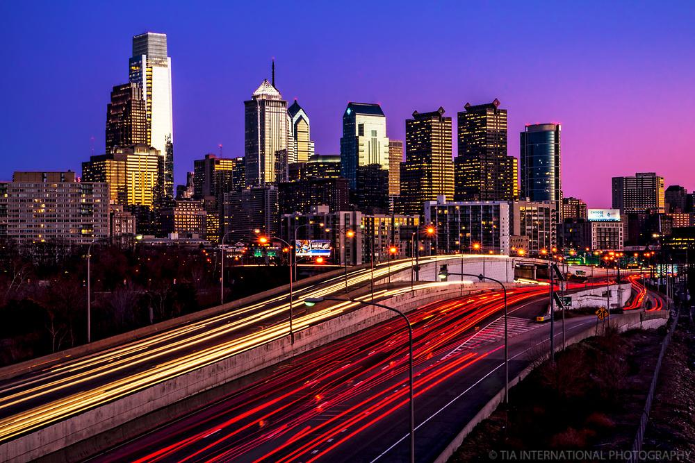 Philadelphia Skyline @ Sunset from Interstate 76