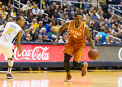 Jan 20, 2016; Morgantown, WV, USA; Texas Longhorns guard Tevin Mack (0) dribbles the ball during the first half against the West Virginia Mountaineers at the WVU Coliseum. Mandatory Credit: Ben Queen-USA TODAY Sports