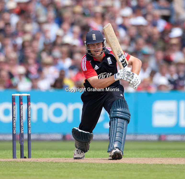 Jonathan Trott bats during the fifth and final one day international between England and Sri Lanka at Old Trafford, Manchester. Photo: Graham Morris (Tel: +44(0)20 8969 4192 Email: sales@cricketpix.com) 06/07/11