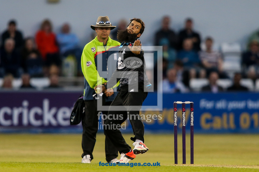 Moeen Ali of Worcestershire Rapids in delivery stride during the Natwest T20 Blast match at the County Ground, Northampton<br /> Picture by Andy Kearns/Focus Images Ltd 0781 864 4264<br /> 05/06/2015