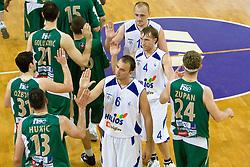 Miha Zalokar (6), Aljaz Janza (4) and Aleksej Laskevic (15) of Helios after second finals basketball match of Slovenian Men UPC League between KK Helios Domzale and KK Union Olimpija, on May 30, 2009, in SC Domzale, Domzale, Slovenia. (Photo by Vid Ponikvar / Sportida)