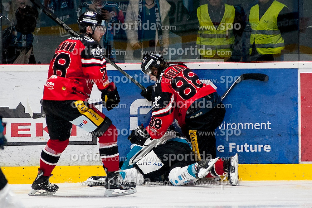22.03.2016, Ice Rink, Znojmo, CZE, EBEL, HC Orli Znojmo vs EHC Liwest Black Wings Linz, Halbfinale, 5. Spiel, im Bild v.l. Corey Trivino (HC Orli Znojmo), Jason Ulmer (Linz), Libor Sulak (HC Orli Znojmo) // during the Erste Bank Icehockey League 5th semifinal match between HC Orli Znojmo and EHC Liwest Black Wings Linz at the Ice Rink in Znojmo, Czech Republic on 2016/03/22. EXPA Pictures © 2016, PhotoCredit: EXPA/ Rostislav Pfeffer