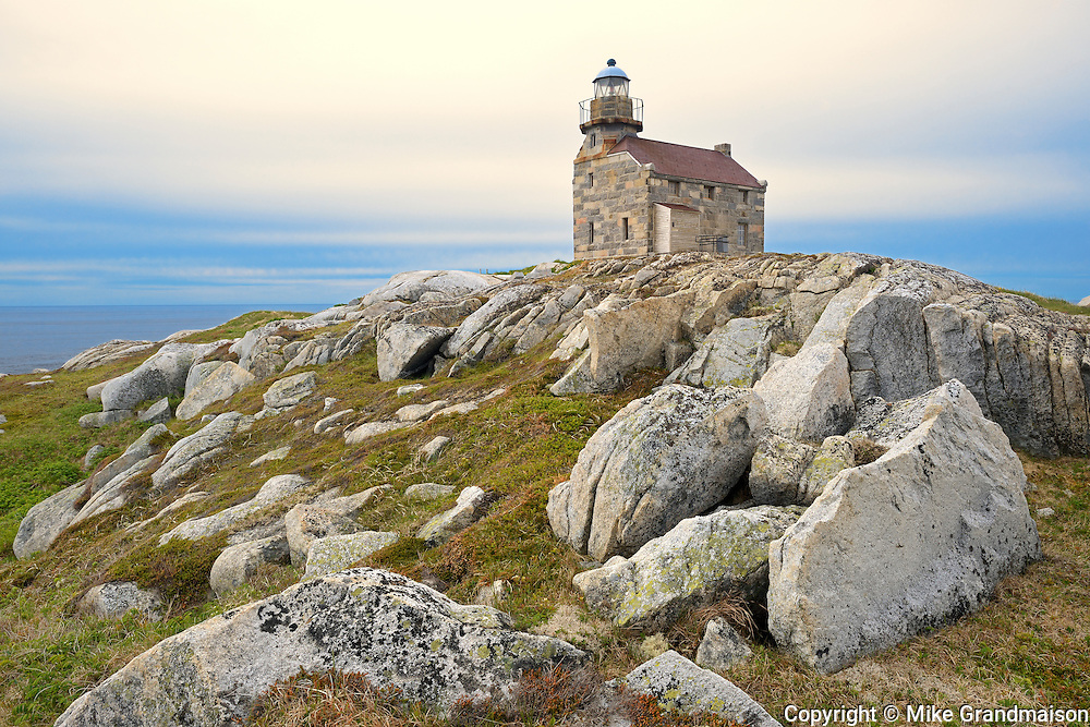 Restored granite lighthouse on the Atlantic Ocean<br /> Rose Blanche<br /> Newfoundland & Labrador<br /> Canada