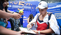 WUHAN, Sept. 27, 2018  Ashleigh Barty of Australia signs for spectators after winning the singles quarterfinal match against Anastasia Pavlyuchenkova of Russia at the 2018 WTA Wuhan Open tennis tournament in Wuhan, central China's Hubei Province, on Sept. 27, 2018. Ashleigh Barty won 2-1. (Credit Image: © Xue Yubin/Xinhua via ZUMA Wire)