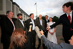 UK ENGLANDMAIDSTONE 10SEP08 - The Kingsnorth six - , Kevin Drake, Huw Williams, Tim Hewke, Ben Stewart, Will Rose and Emily Hall (L-R) pose for a group photo outside Maidstone Crown Court after being found not guilty by a jury of criminal damage charges for their action at Kingsnorth power station the previous year...jre/Photo by Jiri Rezac / Greenpeace..© Jiri Rezac 2008..Contact: +44 (0) 7050 110 417.Mobile:  +44 (0) 7801 337 683.Office:  +44 (0) 20 8968 9635..Email:   jiri@jirirezac.com.Web:    www.jirirezac.com..All images © Jiri Rezac 2008. All rights reserved.