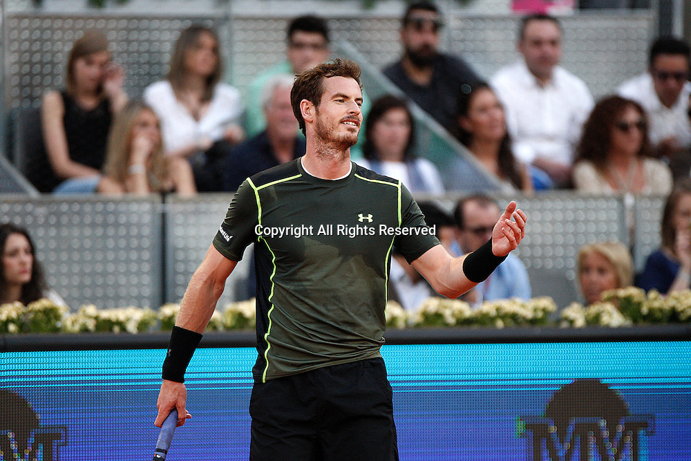 09.05.2015 Madrid, Spain. Andy Murray in action against Kei Nishikor in the semi-final of the Madrid Open tennis.  Murray produced an excellent display to beat the fourth seed 6-3 6-4.