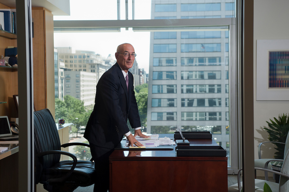 Attorney Michael D. Hausfeld in his K Street office overlooking, before and during an interview with Katja Gloger.