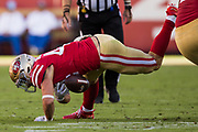 San Francisco 49ers fullback Kyle Juszczyk (44) fumbles the ball against the New York Giants at Levi's Stadium in Santa Clara, Calif., on November 12, 2017. (Stan Olszewski/Special to S.F. Examiner)