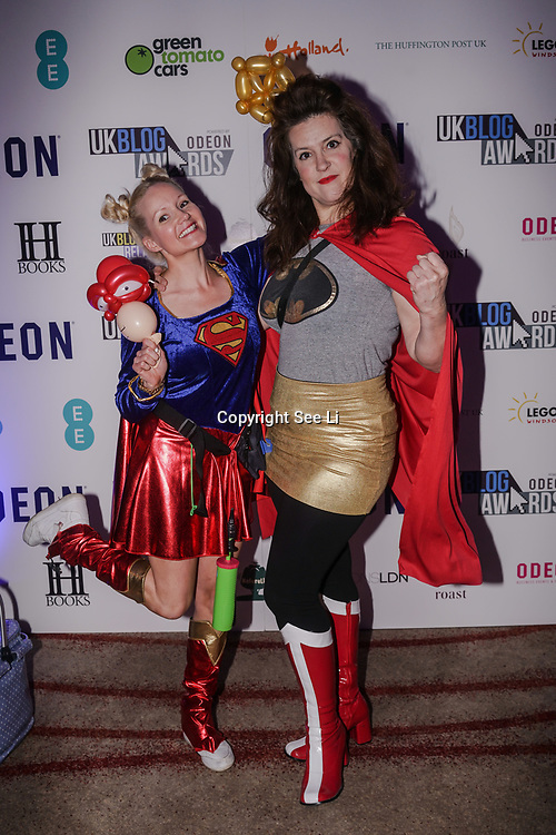 Westminster, UK. 20th Apr, 2017. Two ladies dress as Supergirl attends The annually National UK Blog Awards at Park Plaza Westminster Bridge, London. by See Li