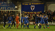 The Wimbledon players give a lap of appreciation to the home support after the FA Youth Cup match between U18 AFC Wimbledon and U18 Chelsea at the Cherry Red Records Stadium, Kingston, England on 9 February 2016. Photo by Michael Hulf.