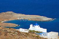 Grece, Cyclades, ile de Serifos, plage de Platis Gialos et eglise Skopiani // Greece, Cyclades Islands, Serifos island, Platis Gialos beach and Skopiani church