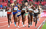 Agnes Tirop (KEN) wins the women's 5,000m in 14:50.82 during the Bauhaus-Galan in a IAAF Diamond League meet at Stockholm Stadium in Stockholm, Sweden on Thursday, May 30, 2019. From left: Lilian Kasait Rengerunk (KEN), Yasemin Can (TUR), Margaret Kipkemboi (KEN) and Tirop  (Jiro Mochizuki/Image of Sport)