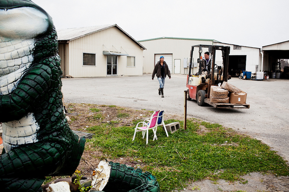 Stephen Bonnecarrere (R) waits for a worker at Daneco Alligator Farm in Houma, Louisiana on Friday, February 19, 2010.
