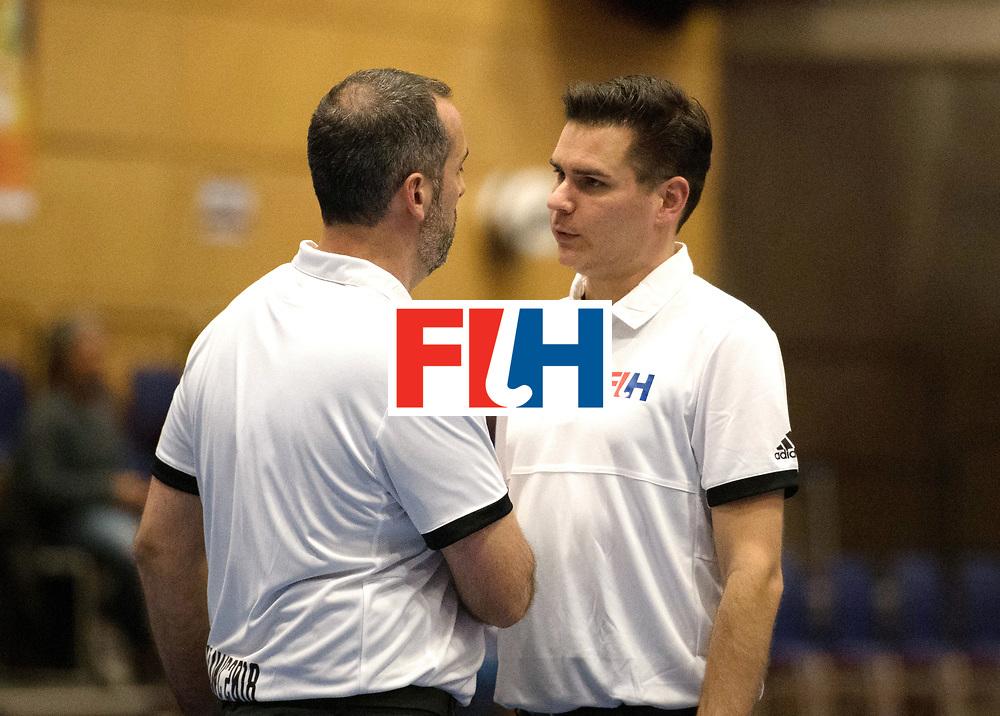 BERLIN - Indoor Hockey World Cup<br /> Kazachstan - Czech Republic<br /> foto: Umpire MARTINEZ Luis and Ben Goentgen<br /> WORLDSPORTPICS COPYRIGHT FRANK UIJLENBROEK
