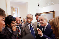 """Palermo, Italy - 20 July, 2012: President of the Sicilian Region Raffaele Lombardo, 61, answers media questions after his speach at the Regional Assembly on 20 July, 2012, in Palermo, Italy.<br /> <br /> Mario Monti has expressed """"serious concerns"""" that Sicily's regional government is heading towards default and has asked its governor – who is under investigation for suspected links to the Mafia – to confirm his intention to resign. Sicily was among 23 Italian """"sub-sovereign entities"""" downgraded by Moody's rating agency on Monday, a development that has raised the possibility of a chain of defaults at the local level unless the central government intervenes. Sicily's debt was €5.3bn at the end of 2011, according to Bloomberg. Mr Monti, Italy's technocratic prime minister, indicated in his statement on Tuesday that Rome would take action to bail out Sicily's debts. Sicily has long been identified as one of the most poorly managed of Italy's regions, with the public sector accounting for the bulk of the island's economy and jobs. Commentators call it """"Italy's Greece""""."""