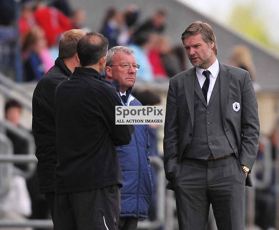 Falkirk boss Stephen Pressley (right) discusses tactics with his coaching team (l to r) Neil McFarlane, Steve Crawford & Alex Smith ..Falkirk v Ayr, SFL 1st Division, Saturday 5th May 2012..ALEX TODD | STOCKPIX.EU