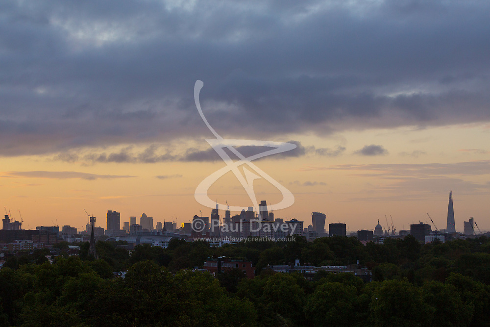 London, September 11 2017. Soft light illuminates the London skyline as a new day breaks over the city. © Paul Davey