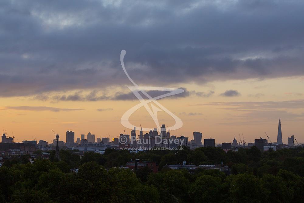 London, September 11 2017. Soft light illuminates the London skyline as a new day breaks over the city. © Paul Davey