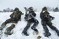 23 FEB 2013, LETZLINGEN/GERMANY:<br /> Panzergrenadiere des Panzergrenadierbattalions 212 mit AGDUS, Ausbildungsgeraet Duellsimulator, Panzerfaust 3 (MItte und Rechts) waehrend einer Gefechtsuebung im abgesessenen Kampf im Winter, Gefechtsuebungszentrum Heer, Truppenuebungsplatz Altmark<br /> IMAGE: 20130223-01-052<br /> KEYWORDS: Gefechtsübung, Schnee, Gefechtsübungszentrum, Bundeswehr, Heer, Armee, Soldat, Soldaten, Militaer, Militär, Panzerfaustschuetze, Panzerfaustschütze