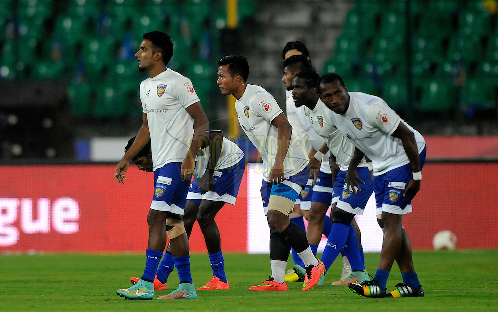 Players from Chennaiyin FC during a warm up session before the start of match 50 of the Hero Indian Super League between Chennaiyin FC and FC Goa held at the Jawaharlal Nehru Stadium, Chennai, India on the 5th December 2014.<br /> <br /> Photo by:  Pal Pillai/ ISL/ SPORTZPICS