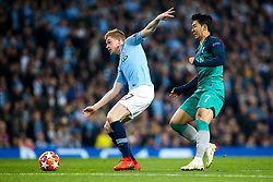 Kevin De Bruyne of Manchester City takes on Son Heung-Min of Tottenham Hotspur - Mandatory by-line: Robbie Stephenson/JMP - 17/04/2019 - FOOTBALL - Etihad Stadium - Manchester, England - Manchester City v Tottenham Hotspur - UEFA Champions League Quarter Final 2nd Leg