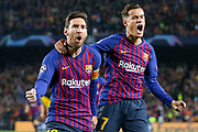 GOAL - 1-0 Barcelona forward Lionel Messi (10) celebrates with Barcelona midfielder Philippe Coutinho (7) during the Champions League quarter-final leg 2 of 2 match between Barcelona and Manchester United at Camp Nou, Barcelona, Spain on 16 April 2019.