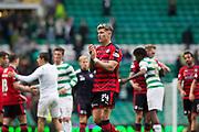 14th October 2017, Celtic Park, Glasgow, Scotland; Scottish Premiership football, Celtic versus Dundee; Dundee's Josh Meekings applauds the Dundee fans