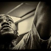 Brian Kotoka training at the Bang Fitness Gym.