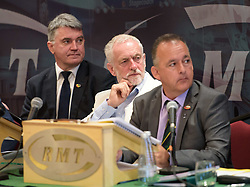 © Licensed to London News Pictures.  25/06/2017; Exeter, Devon, UK. MICK CASH General Secretary of the RMT union, JEREMY CORBYN, SEAN HOYLE, President of the RMT. Corbyn spoke at the start of the RMT union's annual general meeting in Exeter. Picture credit : Simon Chapman/LNP